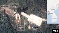DigitalGlobe的卫星图像显示了北韩西海的一处设施,分析人士认为北韩在这里试验了火箭发动机。