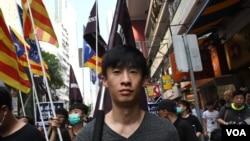 香港民族陣綫發言人梁頌恆。(美國之音特約記者 湯惠芸拍攝 )