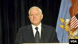 Menteri Pertahanan Amerika Robert Gates saat berbicara mengenai ekspor militer di Washington, 20 April 2010.