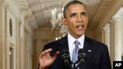 Presidente Obama dirigindo-se à nação para explicar a posição da Casa Branca perante a Síria