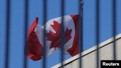 在北京的加拿大駐中國大使館上飄揚的加拿大國旗。 (2019年1月15日)