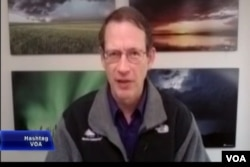 Jeff Masters, director of meteorology at Weather Underground, speaks to Hashtag VOA via Skype from Ann Arbor, Michigan on Jan. 5, 2016
