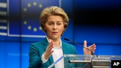 European Commission President Ursula von der Leyen addresses the media after a video-conference with G7 leaders at the European Council building in Brussels, March 16, 2020.