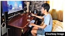 乌坎村长林祖恋的孙子回忆被抓情况。(推特图片)