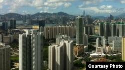 俯瞰香港高楼和港湾