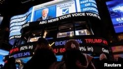 美国纽约时代广场,民众在大屏幕上关注2020年大选的最新进展。(2020年11月3日)