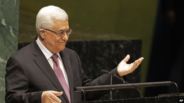 Palestinian President Mahmoud Abbas speaks during a meeting of the U.N. General Assembly prior to a vote on a resolution on the issue of upgrading the Palestinian Authority's status to non-member observer state in the United Nations, Nov. 29, 2012.