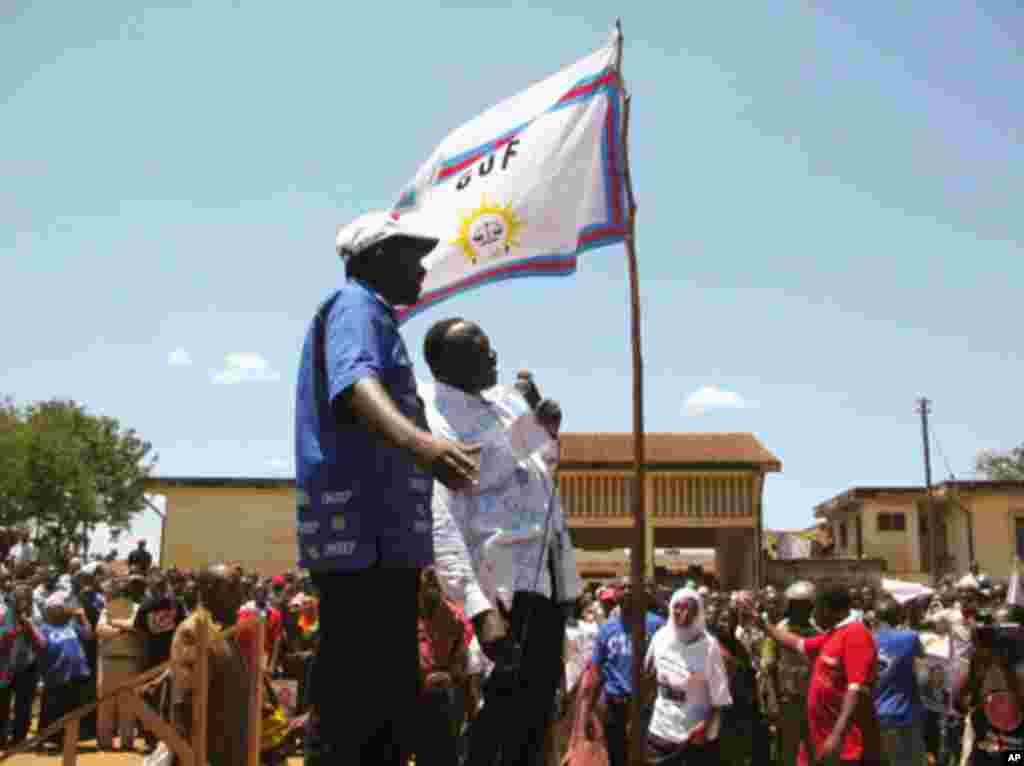 Viongozi wa chama cha wananchi CUF wakifunga kampeni zao za uchaguzi