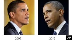 These file photos, Oct. 7, 2009, left, and Nov. 28, 2012, right, show President Barack Obama speaking in Washington. (AP Photo, File)
