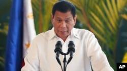 El presidente filipino, Rodrigo Duterte, habló en una conferencia de prensa antes de viajar a Japón, el martes, 25 de octubre, de 2016.