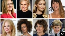 This combination photo shows comedian Samantha Bee, Italian designer Maria Grazia Chiuri, model Gigi Hadid, director Patty Jenkins, actress Nicole Kidman, singer Solange Knowles, Rep. Maxine Waters and astronaut Peggy Whitson, who are among Glamour's Women of the Year Honorees.