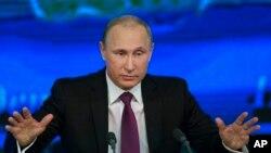 Presiden Rusia Vladimir Putin di Moskow, Rusia (18/12)