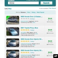 The website for car sharing service, Getaround.com, lists the personal vehicles available for hourly rental.