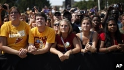 Supporters listen to President Barack Obama at a campaign event at Iowa State University, Ames, Iowa, Aug. 28, 2012.