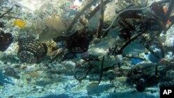 Sampah yang memenuhi pantai Hanauma, Hawaii.