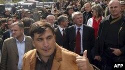 Михаил Саакашвили в Кодорском ущелье на границе Грузии и Абхазии