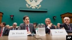 美國國會在休會期間召開聽證,討論美國對伊波拉疫情。美國疾病控制和預防中心主任弗里登作證(左)。