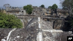 An overview of Cambodia's 11th century Hindu Preah Vihear temple, about 245 kilometers (152 miles) north of Phnom Penh, Cambodia.