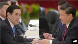 Tổng thống Đài Loan Mã Anh Cửu, trái, và Chủ tịch Trung Quốc Tập Cận Bình trong cuộc hội đàm lịch sử tại Singapore, 7/11/2015.