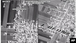 This satellite image posted on the U.S. Embassy Damascus Facebook page Saturday, April 7, 2012, shows the presence of a military convoy in Zirdana, Syria on April 5, right, next to imagery of the same area on April 4, showing no military convoy, according