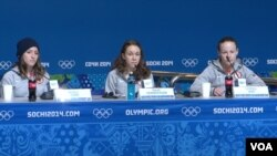 U.S. ski jumpers Jessica Jerome, Sarah Hendrickson and Lindsey Van speak to the media in Sochi, Feb. 10, 2014. (Parke Brewer/VOA)