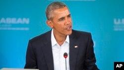 President Barack Obama speaks at the plenary session meeting of ASEAN in California..