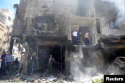 敘利亞大馬士革郊區的自殺式汽車爆炸現場