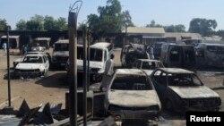 Gidajen da suka kone bayan hare-haren Boko Haram a Bama