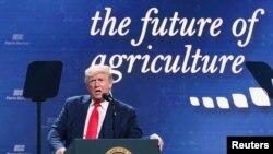 美国总统特朗普在德克萨斯州奥斯丁的一次集会上感谢农民们在美中贸易战中给予的支持。(2020年1月19日)