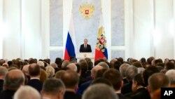 Tổng thống Nga Vladimir Putin phát biểu bài diễn văn thường niên tại Quốc hội Liên bang Nga, Moscow, ngày 03/12/2015.