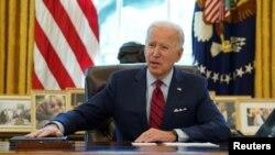 El presidente Joe Biden habla antes de firmar órdenes ejecutivas en la Casa Blanca en Washington, el 28 de enero de 2021.