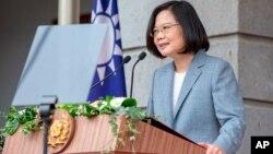 La présidente taïwanaise Tsai Ing-wen prononçant un discours après sa cérémonie d'investiture à Taipei, le 20 mai 2020. (Photo présidence)