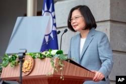 台湾总统府公布的照片显示蔡英文发表开始第二届任期的总统就职演说。(2020年5月20日)