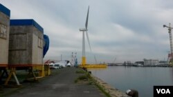 Floatgen turbine at Saint Nazaire's port, France. (VOA / L. Bryant)