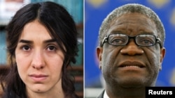 A combination picture shows the Nobel Prize for Peace 2018 winners: Yazidi survivor Nadia Murad posing for a portrait at United Nations headquarters in New York, March 9, 2017, and Denis Mukwege during an award ceremony to receive his 2014 Sakharov Prize