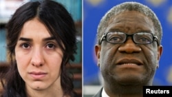 A combination picture shows the Nobel Prize for Peace 2018 winners: Yazidi survivor Nadia Murad posing for a portrait at United Nations headquarters in New York, March 9, 2017, and Denis Mukwege during an award ceremony to receive his 2014 Sakharov Prize at the European Parliament in Strasbourg, France, Nov. 26, 2014.