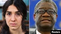 2018年诺贝尔和平奖得主有刚果医生丹尼斯·穆卡维加(Denis Mukwege 右)和雅兹迪人权活动人士纳迪娅·穆拉德(Nadia Murad 左)