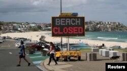 Pantai Bondi di Sydney, Australi masih ditutup untuk mencegah penyebaran wabah Covid-19.