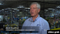 Rick Huether, Presiden Independent Can Company. (VOA/Videograb)