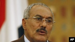 Yemeni President Ali Abdullah Saleh speaks during a media conference in Sana'a, March 18, 2011