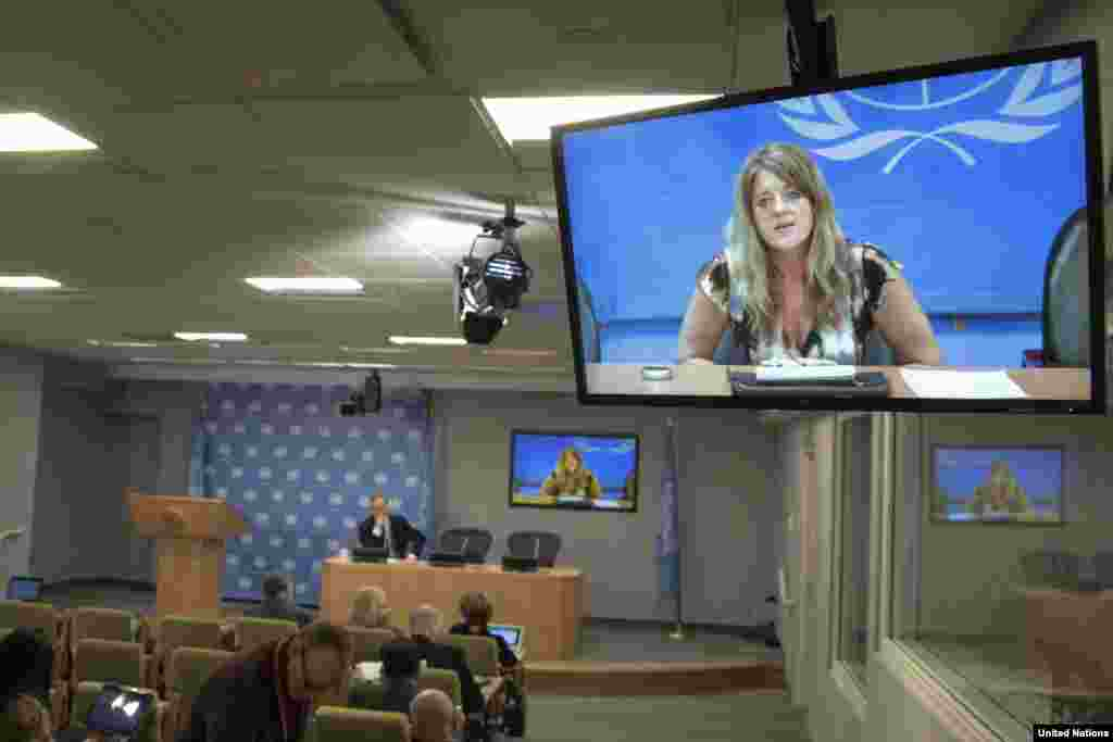 "President Salva Kiir says UNMISS stopped short of appointing its chief, Hilde Johnson, shown here holding a video news conference from Juba, South Sudan on Dec. 26, 2013, 11 days after the violence in South Sudan began, as ""co-president."""