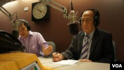 "Mam Sonando on the Khmer Service's ""Hello VOA,"" answering questions from listeners."