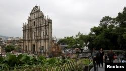 澳门名胜——圣保罗大教堂遗址,又名大三巴牌坊