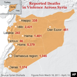 Deaths across Syria, as tabulated by Syrian Shuhada.