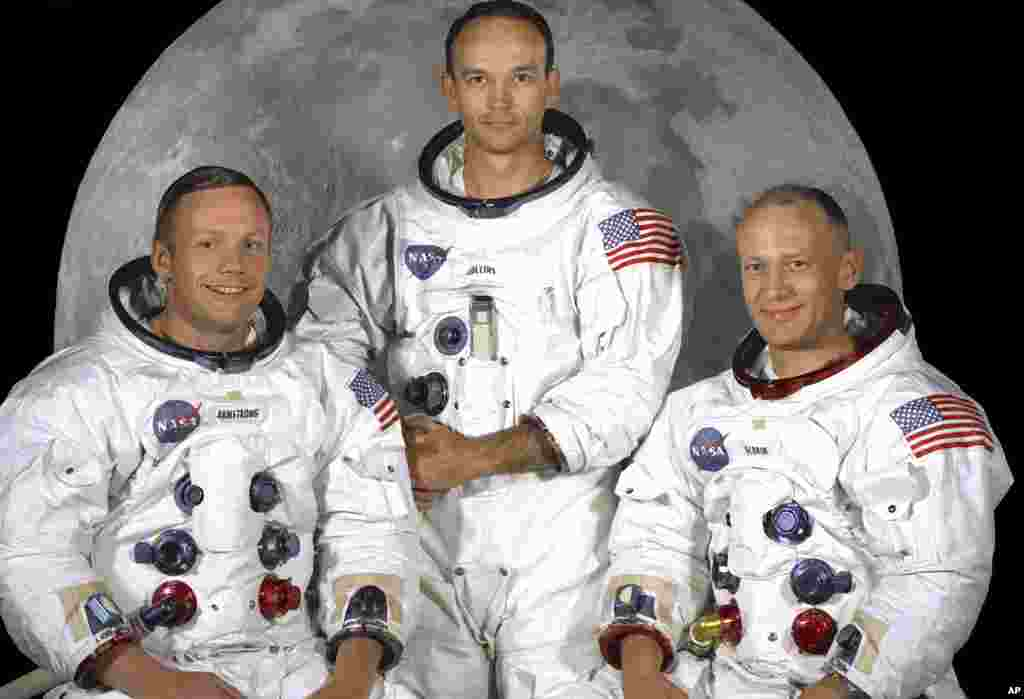 "May 1969: This NASA studio file image shows the Apollo 11 crew of U.S. astronauts Neil Armstrong, (L) who was the Mission Commander and the first man to step on the moon, Edwin ""Buzz"" Aldrin, (R), who was the Lunar Module Pilot, and Michael Collins, (C) w"
