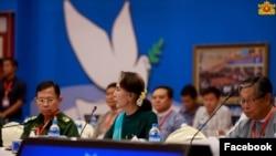 (၇)ႀကိမ္ေျမာက္ တႏိုင္ငံလုံး ပစ္ခတ္တိုက္ခိုက္မႈရပ္စဲေရး သေဘာတူစာခ်ဳပ္ အေကာင္အထည္ေဖာ္မႈဆိုင္ရာ ညႇိႏႈိင္းအစည္းအေ၀း(JICM)ကုိ တက္ေရာက္လာတဲ့ အမ်ဳိးသားျပန္လည္သင့္ျမတ္ေရးႏွင့္ ၿငိမ္းခ်မ္းေရးဗဟိုဌာန ဥကၠ႒၊ ႏိုင္ငံေတာ္ အတိုင္ပင္ခံပုဂၢိဳလ္ ေဒၚေအာင္ဆန္းစုၾကည္ ေျပာၾကားစဥ္- Myanmar State Counsellor Office