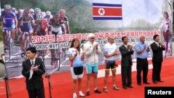 지난 23일 북한 라선경제특구에서 '노디크 웨이즈 중-조 국제자전거관광축전' 시상식이 열렸다. 대회에는 유럽 출신의 자전거 동호인 50여명이 참가했다.