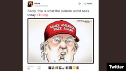 Một phản ứng trên mạng xã hội Twitter dành cho ứng cử viên tổng thống Mỹ của Đảng Cộng hòa Donald Trump.