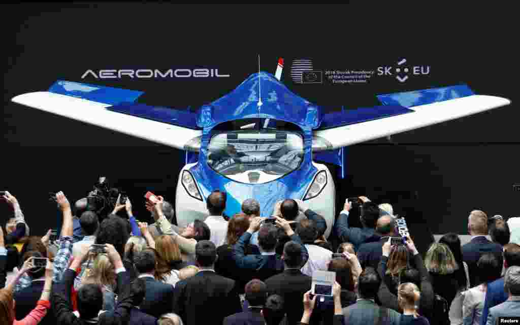 AeroMobil, a flying car prototype, is pictured during a ceremony marking the change of the rotating presidency of the European Council by Slovakia, in Brussels, Belgium.