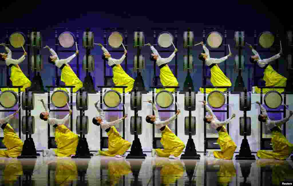 Artists perform during the 132nd IOC Session ahead of the 2018 Winter Olympic Games in Gangneung, South Korea.